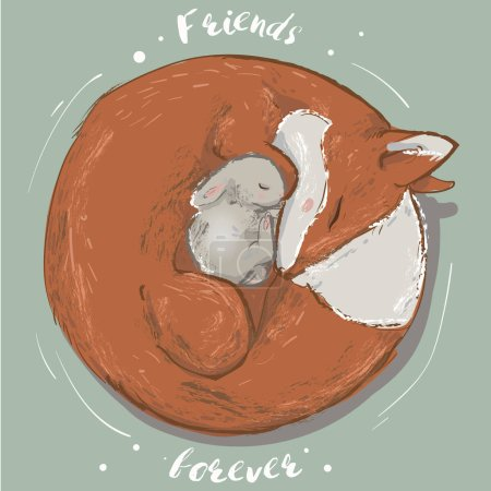 cute hare and fox