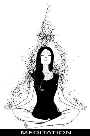 Illustration for Beautiful Girl sitting in Lotus pose and meditate - Royalty Free Image