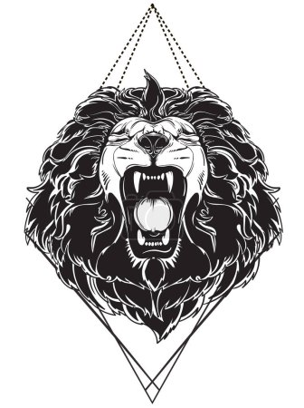 Illustration for Vector roaring lions head - black and white - Royalty Free Image