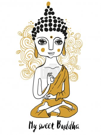 Illustration for Cute doodle Buddha. Geometric element hand drawn. - Royalty Free Image