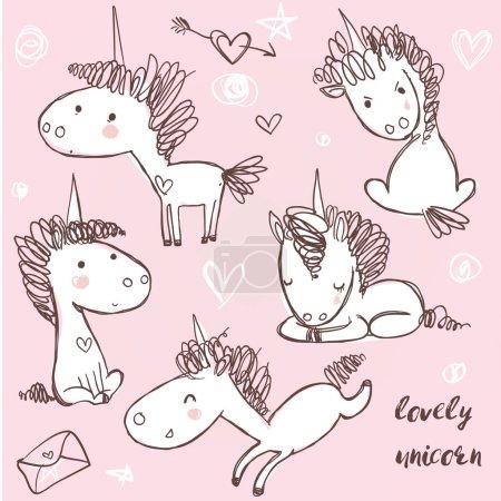 set with doodle unicorns