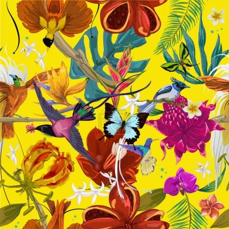 Illustration for Seamless pattern of tropican birds, leaves and flowers - Royalty Free Image