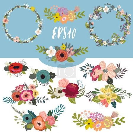 Illustration pour Vintage coloré vintage floral set- collection vectorielle - image libre de droit