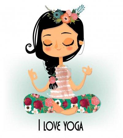 Illustration pour Mignonne fille de dessin animé dans la pose de lotus de yoga - image libre de droit
