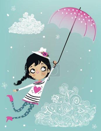 Illustration pour Mignon dessin animé heureux volant fille avec parapluie - image libre de droit
