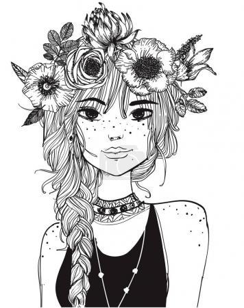 Illustration pour Portrait d'une jeune femme séduisante aux cheveux longs - image libre de droit