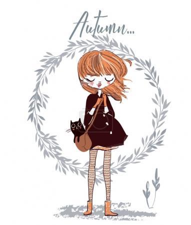 Illustration pour Mignonne automne fille avec chat sur son sac - image libre de droit