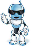Toy robot mascot Vector clip art illustration with simple gradients