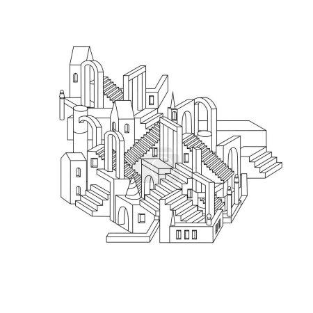 Vector zen art illustration. outline city