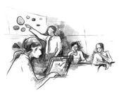Obchodní partneři diskusi o myšlenky na schůzce v kanceláři při otevírání notebooku náčrt rukou kreslení barvu vody