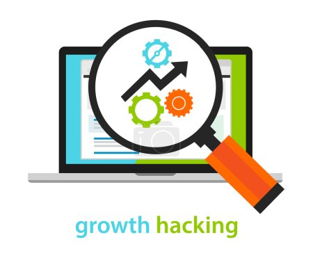 Illustration for Growth hacking ways how business technology company strategy to improve user and revenue number vecto - Royalty Free Image