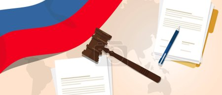 Illustration for Russia law constitution legal judgment justice legislation trial concept using flag gavel paper and pen vector - Royalty Free Image