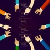 Open source software coding programming development together many hands working together concept of teamwork collaboration and participation vector