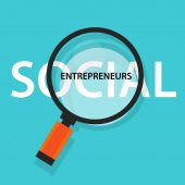 social entrepreneurs concept of business with good impact developing community helping others in need big loop glass