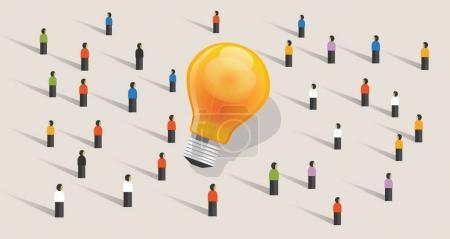 Illustration pour Crowdfunding crowdsourcing big ides bulb communauté de personnes debout ensemble vecteur - image libre de droit