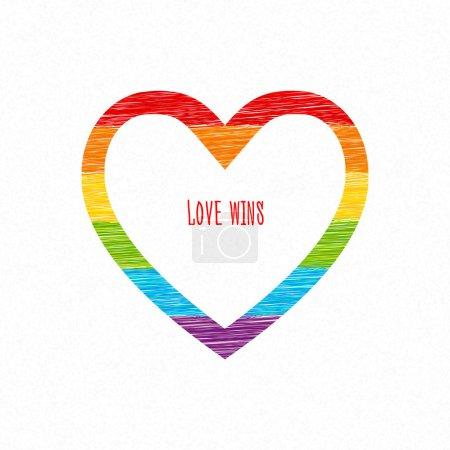 Rainbow heart, love wins inscription. S