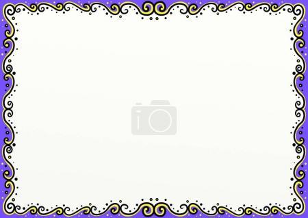 Photo pour Une décoration de bordure de page de style doodle dessinée à la main avec espace de copie - image libre de droit