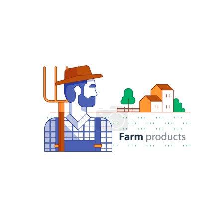 Farming industry, farmer with fork, farm house, country side