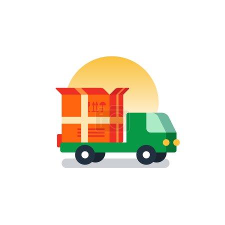 Delivery logistics serveces icon, move boxes, loading truck