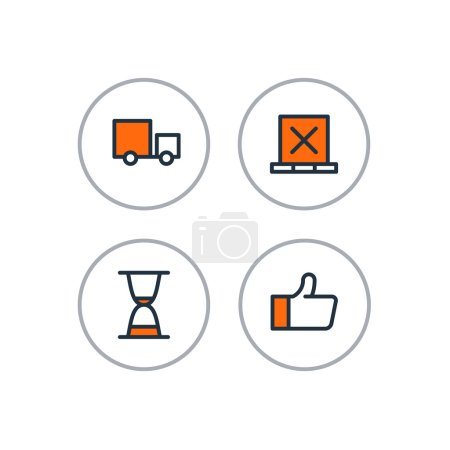 Delivery logistics serveces icons set, move boxes, loading truck, time