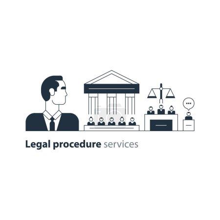 Illustration pour Illustration vectorielle design plat. Jugement rendu au tribunal - image libre de droit