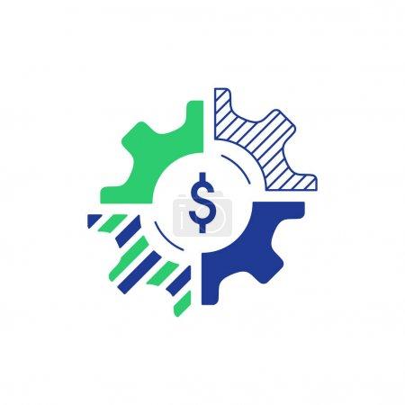 Illustration pour Logo du concept d'entreprise technologique. Finances et stratégie d'investissement. Icône diversification. Illustration vectorielle design plat - image libre de droit
