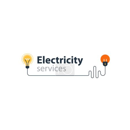 Illustration pour Services électriques et icônes d'approvisionnement, concept d'économie d'énergie, éléments graphiques de connexion électrique. aligner l'ampoule et la fourche de prise. Illustration vectorielle design plat - image libre de droit