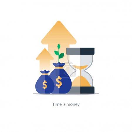 Illustration pour Intérêts composés, le temps est argent, valeur ajoutée, investissements financiers en bourse, concept de croissance future des revenus, augmentation des revenus, rendement de l'argent, régime de fonds de pension, gestion budgétaire, compte d'épargne, icône d'illustration vectorielle bancaire - image libre de droit