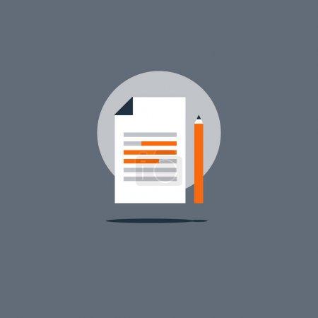 Ilustración de Icono de Resumen concepto creativo escribiendo, cuentos cortos, resaltar información ensayo investigación, escuela insignia de la educación, breve reseña del texto, ver ilustración plana de vector de prueba de gramática - Imagen libre de derechos