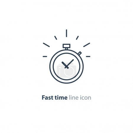 Time limit concept, fast delivery services linear icon, ringing timer