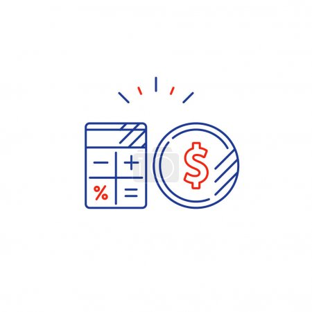 Business plan, pay expenses, calculate budget spending line icon