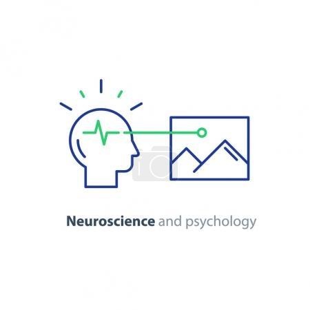 Education concept logo, human head icon, psychology and neuroscience