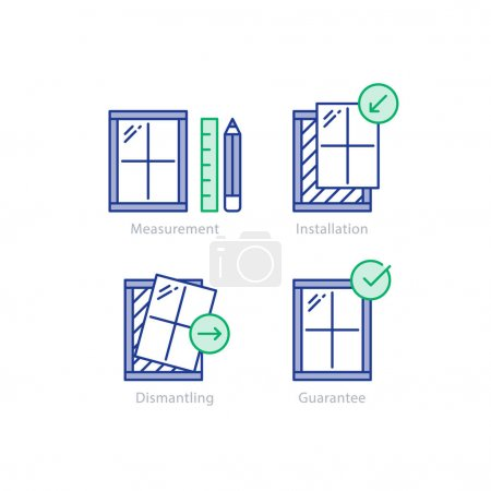 Window replacement order, measurement and dismantling old window icon