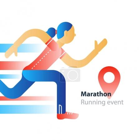 Running event, marathon participation, rushing woman in motion