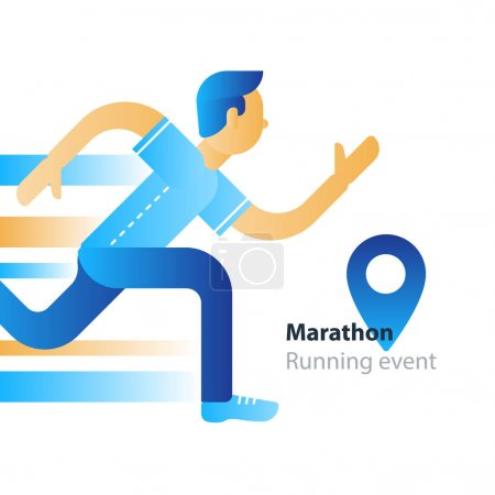 Running event, marathon participation, rushing man, person in motion