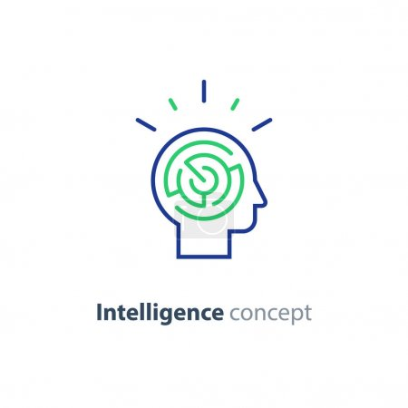 Illustration for Logic games concept, creative thinking, head maze line icon, mind labyrinth, mental work, strategic thinking, psychology vector logo - Royalty Free Image