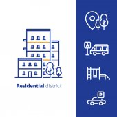 Real estate services residential district apartment building neighborhood concept facilities and amenities group of houses line icons