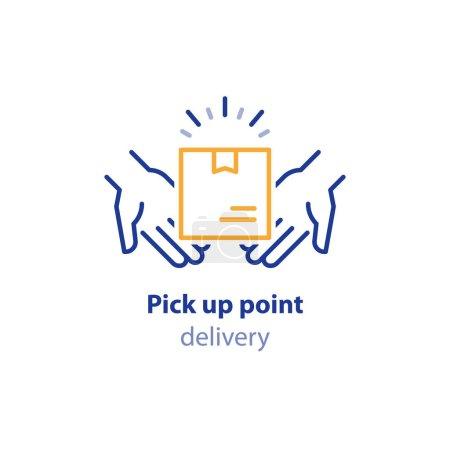 Illustration pour Point de ramassage, recevoir la commande, collecter le colis, les services de livraison, concept d'expédition, expédition de colis, boîte de maintien des mains, illustration de ligne vectorielle - image libre de droit