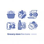 Food shopping grocery basket fresh vegetables line icon reward loyalty program discount beverage soda cans offer