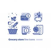 Food shopping grocery basket vegetables line icon reward loyalty program earn points every purchase