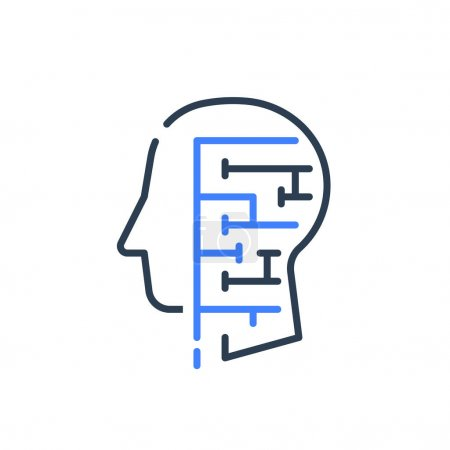 Illustration for Human head profile and labyrinth, cognitive psychology or psychiatry concept, logic game, critical thinking, brain maze, vector line icon - Royalty Free Image