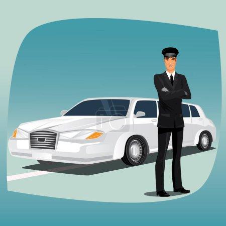 Illustration pour Chauffeur, chauffeur de voiture de luxe, comme limousine ou lincoln, debout, habillé en costume ou smoking noir, chemise, cravate, gants en cuir noir et chapeau - image libre de droit