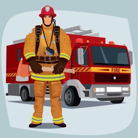 Illustration pour Pompier, homme des pompiers, debout en pleine face en forme de pompier, avec équipement de protection individuelle, bunker ou équipement de branchement. En arrière-plan un camion de pompiers - image libre de droit