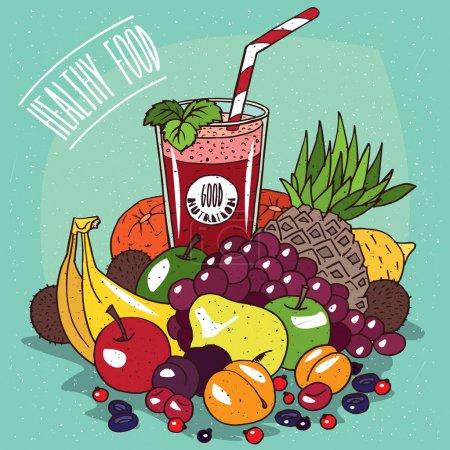 Illustration pour Gros tas de fruits différents, comme la banane, l'ananas, la poire, le raisin, le kiwi, le citron, la pomme, l'abricot, l'orange et un verre de jus de fruits rouges. Concept d'alimentation saine - image libre de droit