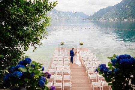 wedding couple at destination wedding ceremony