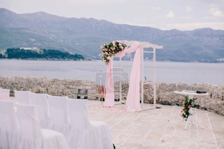 destination wedding arch with decoration