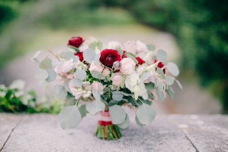 wedding bouquet  peonies and roses