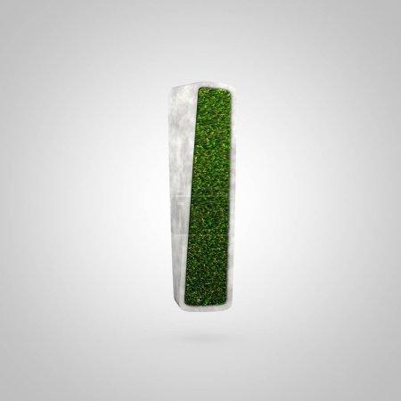 Photo pour Grass lettre L minuscule. Fonte 3D en forme de parterre de fleurs avec herbe verte sur fond blanc . - image libre de droit