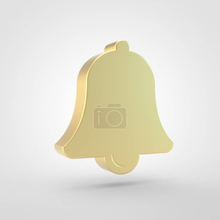 Bell icon. 3d render of golden bell symbol isolated on white background.