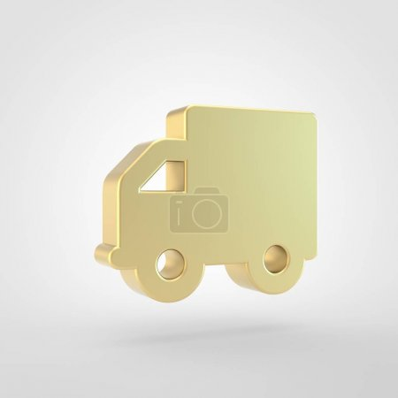 Truk icon. 3d render of golden truk symbol isolated on white background.